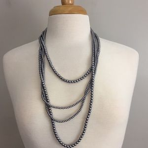 Faux Muted Silver Pearl Necklace